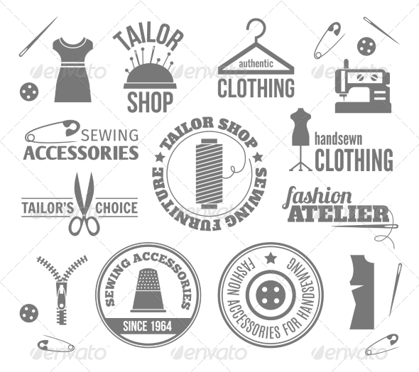 GraphicRiver Sewing Equipment Labels 8766562