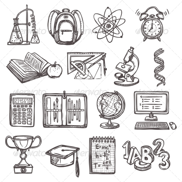 GraphicRiver School Education Sketch Icons 8766571