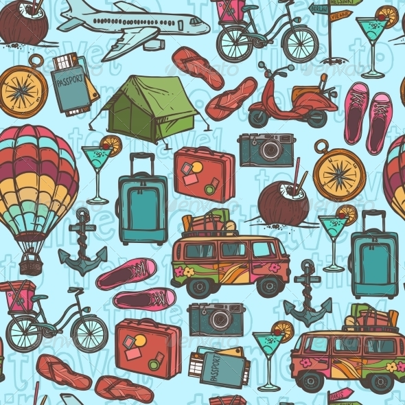 GraphicRiver Travel Sketch Seamless Pattern 8766575