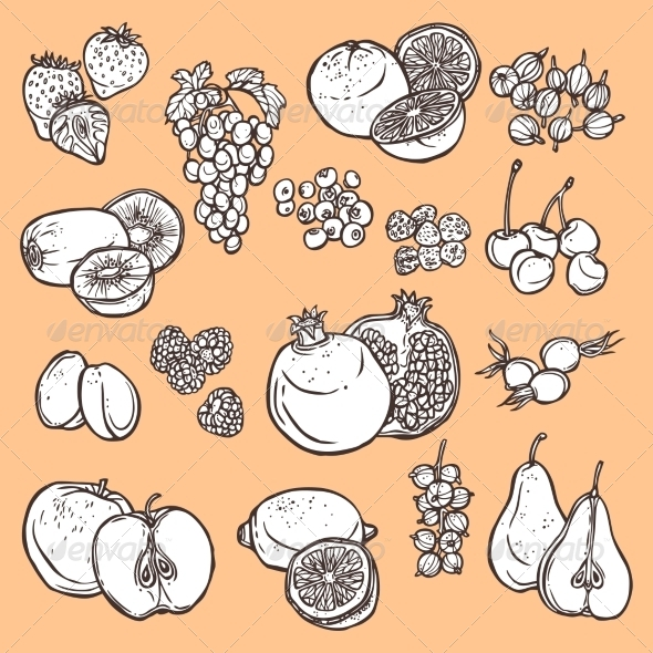 GraphicRiver Fruits and Berries Sketch Icons 8766576