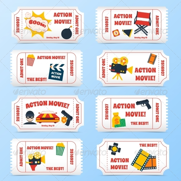 GraphicRiver Action Movie Tickets Set 8766586