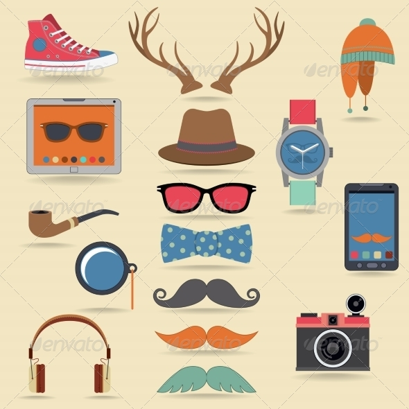 GraphicRiver Hipster Elements Set 8766588
