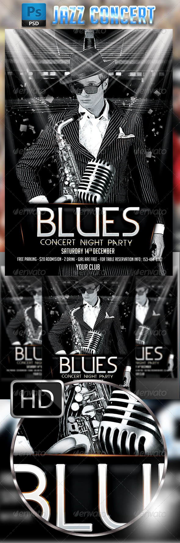 GraphicRiver Jazz Blues Concert Flyer 8750272