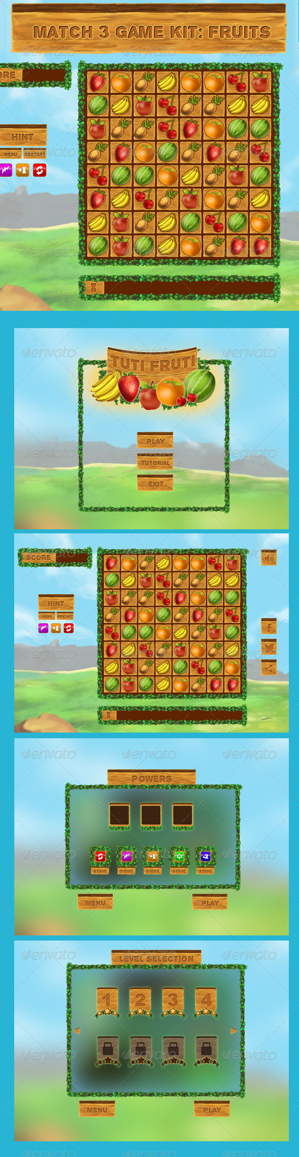 GraphicRiver Match 3 Game Kit Fruits 8766807