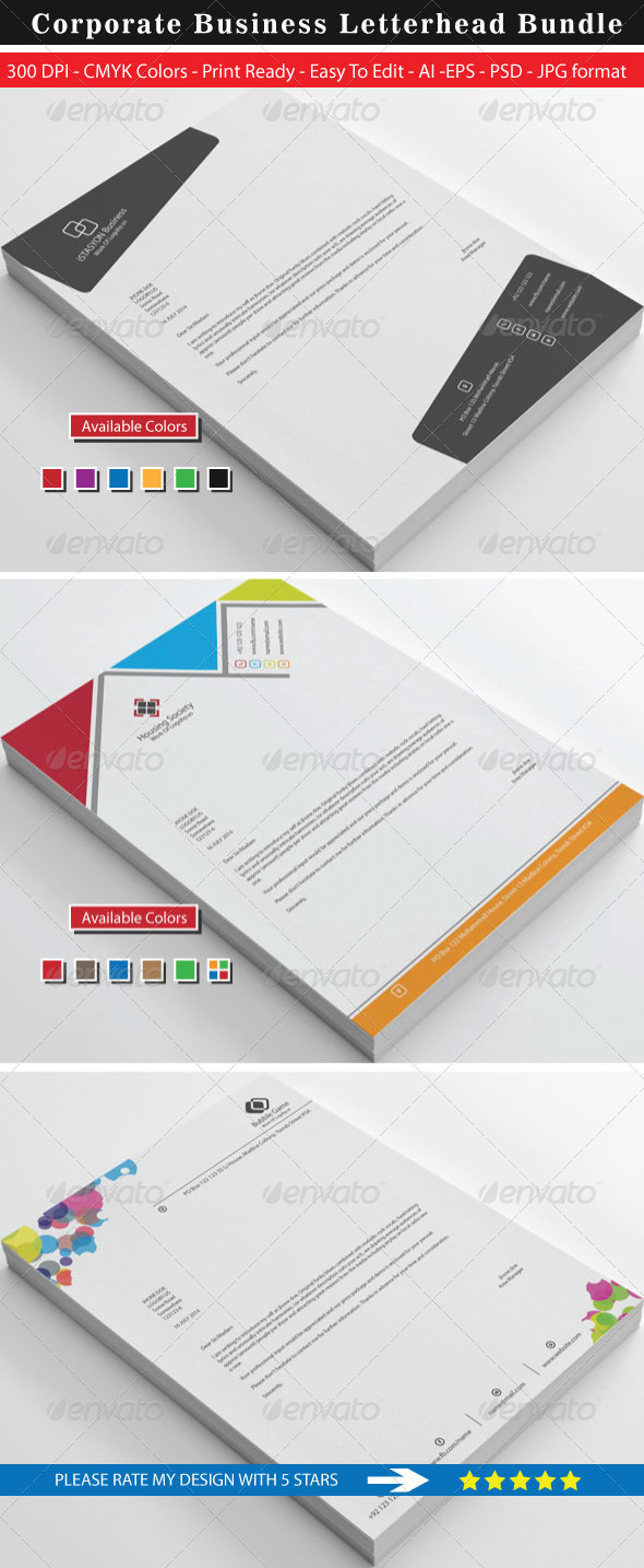 GraphicRiver Clean Stylish High Rated Letterhead Bundle 8766946