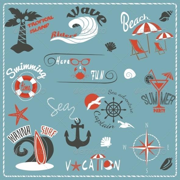 GraphicRiver Summer Retro Emblems 8767408