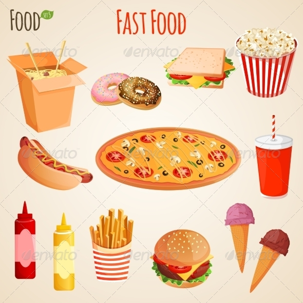 GraphicRiver Fast Food Set 8767409