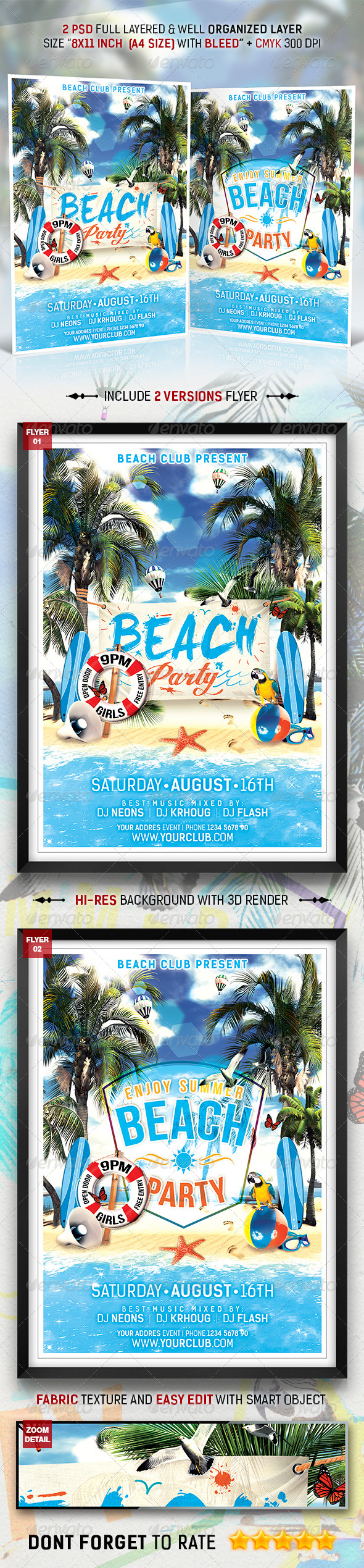 GraphicRiver Summer Beach Party Flyer Template 8767502