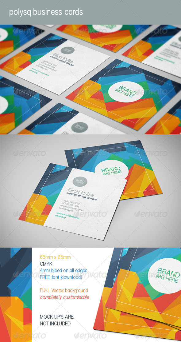 GraphicRiver Polysq Square Business Cards 8758380