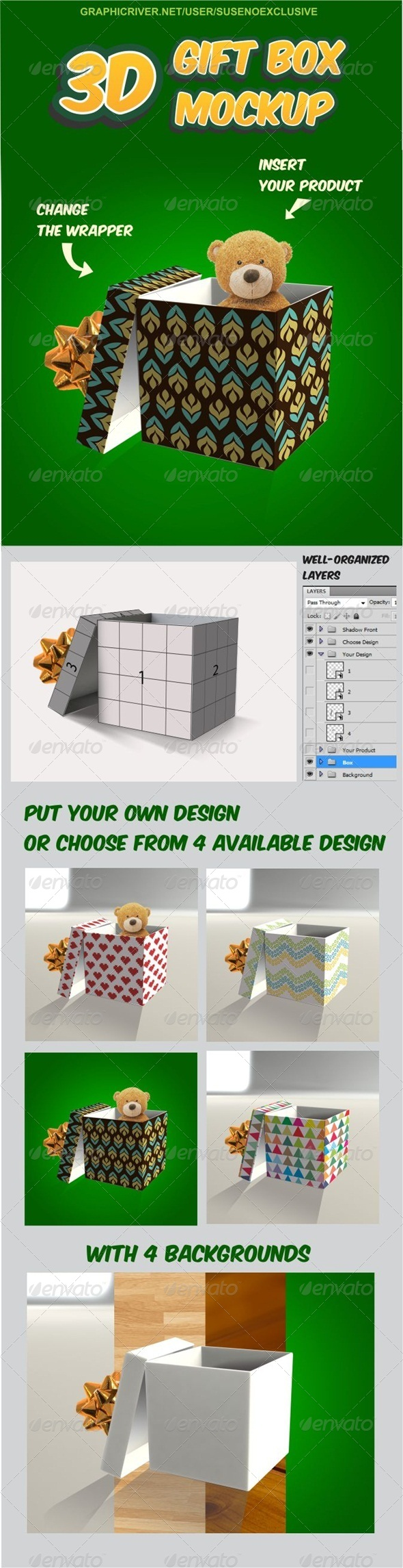 GraphicRiver 3D Gift Box Mockup 8726307