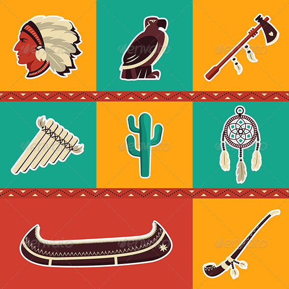 GraphicRiver American Indian Icons Set 8767832