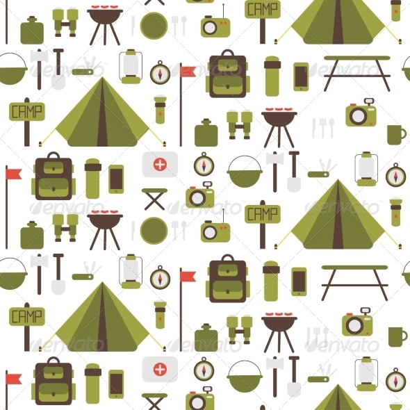 GraphicRiver Seamless Pattern of Flat Colorful Camping Icons 8768081