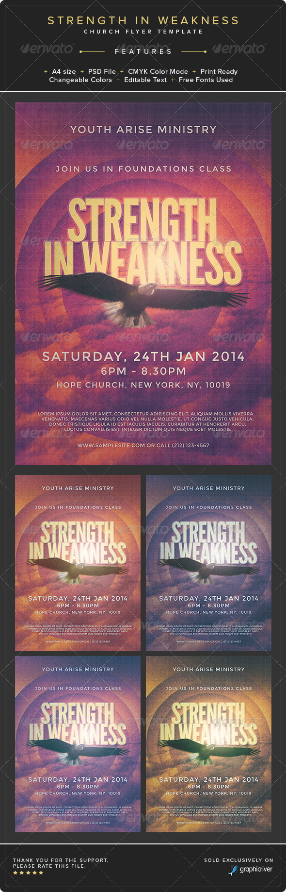 GraphicRiver Strength in Weakness Church Flyer Template 8768204