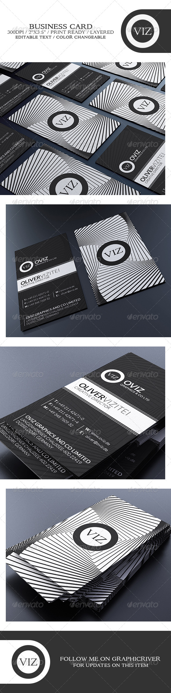 GraphicRiver Clean Black And White Business Card 8768335