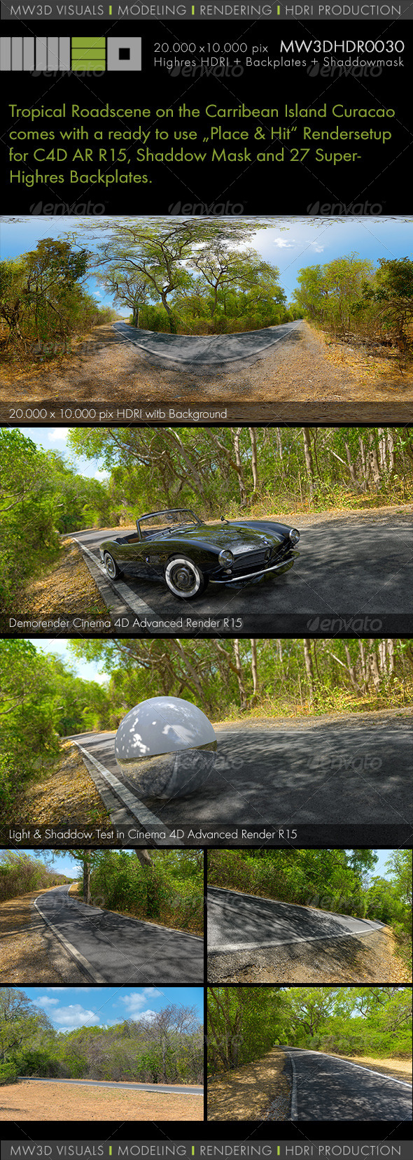 MW3DHDR0030 Roadscene / Carribean Island Curacao - 3DOcean Item for Sale