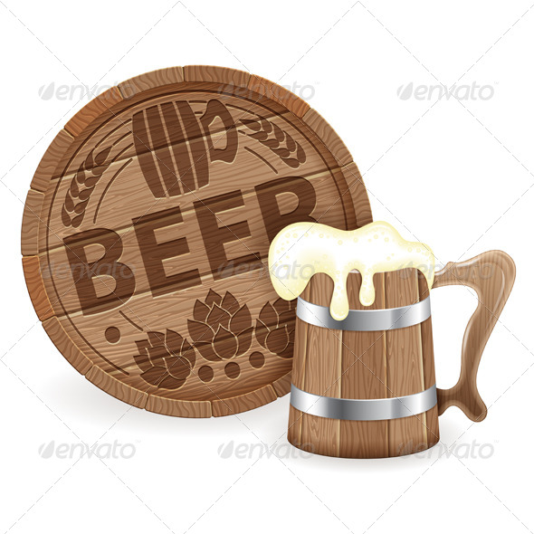 GraphicRiver Barrel of Beer and Wooden Mug 8768501