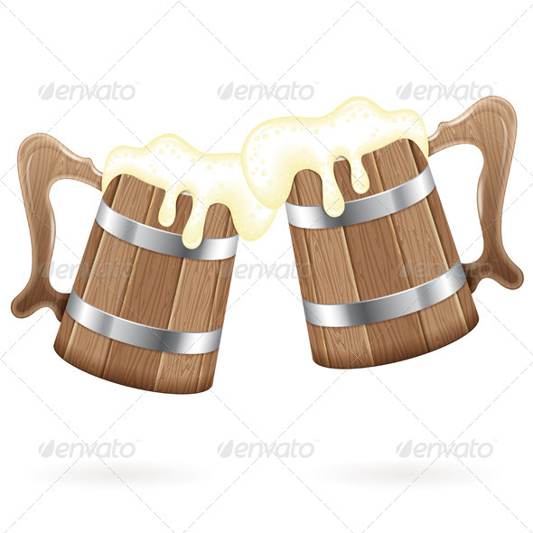 GraphicRiver Two Wooden Mugs with Beer 8768503