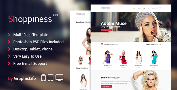 Shoppiness - eCommerce Muse Template