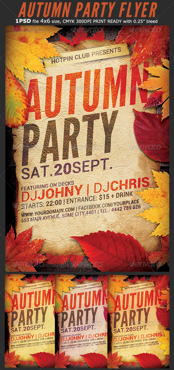 GraphicRiver Autumn Party Flyer Template 8769179