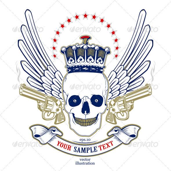 Graphic River Skull Wing Emblem Vectors -  Decorative  Decorative Symbols 891557