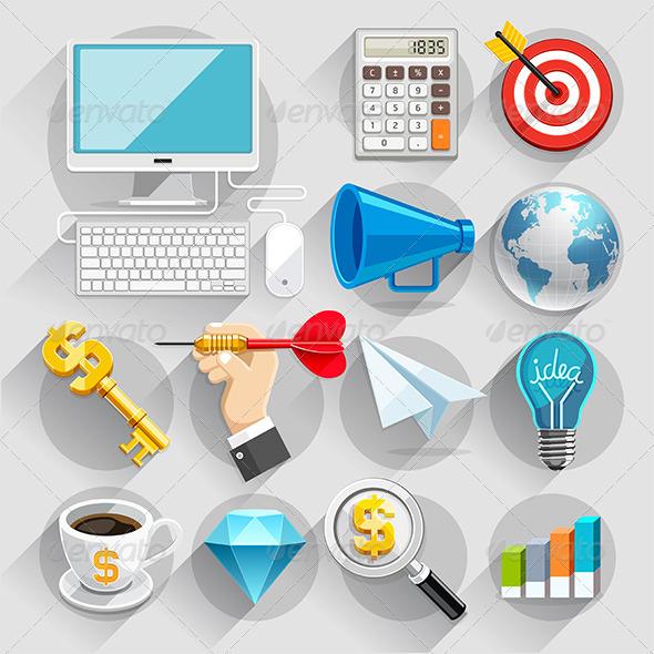 GraphicRiver Business Flat Icons Color Set 8769386