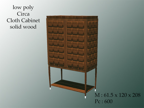 Low Poly Circa Cloth Cabinet Wood - 3DOcean Item for Sale