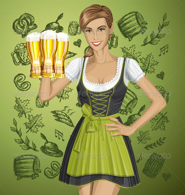 GraphicRiver Vector Cute Woman In Drindl On Oktoberfest 8770907