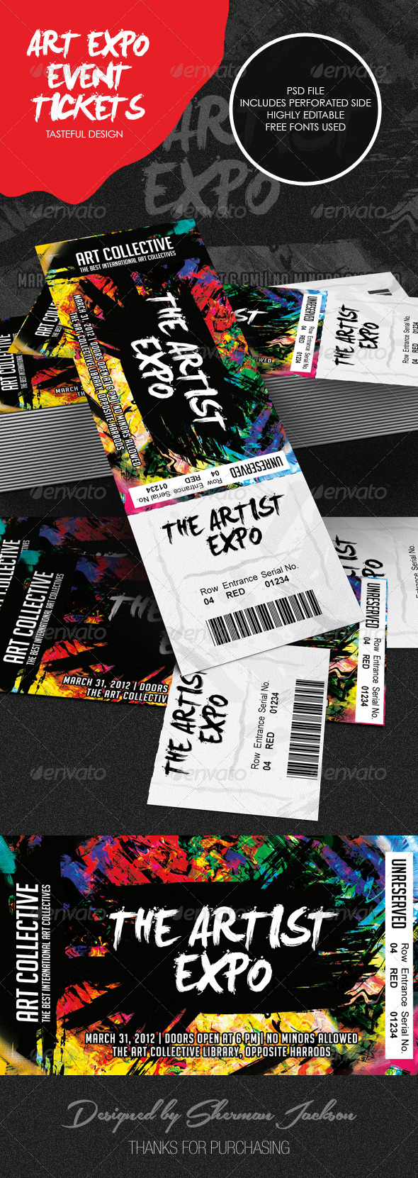 GraphicRiver Art Event Ticket Template 8770980
