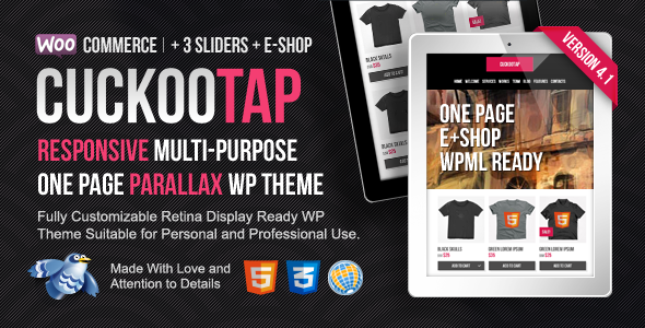 CuckooTap - One Page Parallax WP Theme Plus eShop - Business Corporate