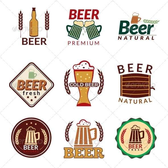 GraphicRiver Beer Colored Emblems 8771289