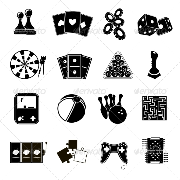 GraphicRiver Game Icons Set Black 8771312