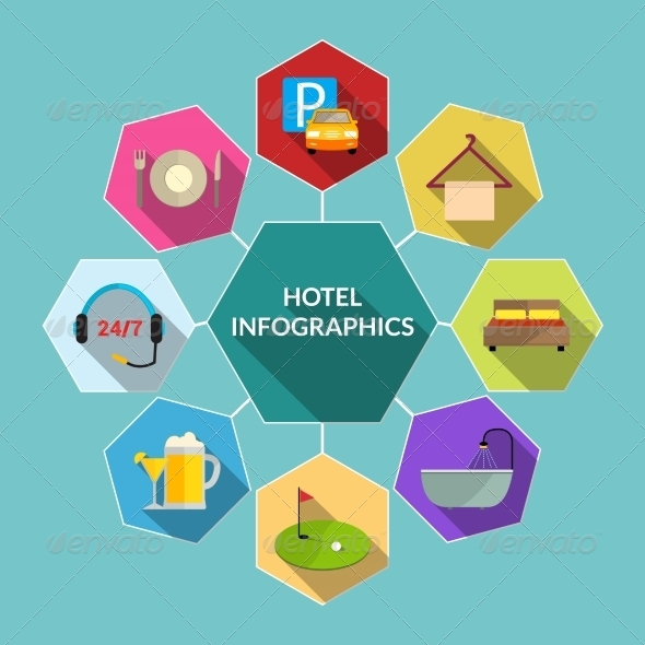 GraphicRiver Hotel Flat Infographics 8771314