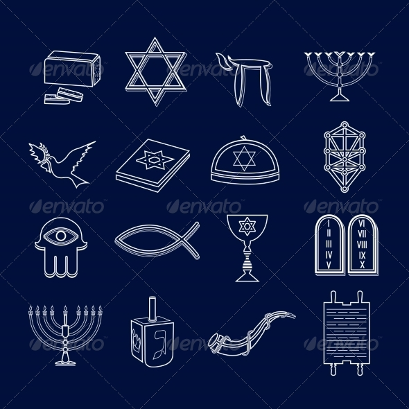 GraphicRiver Judaism Icons Set Outline 8771320