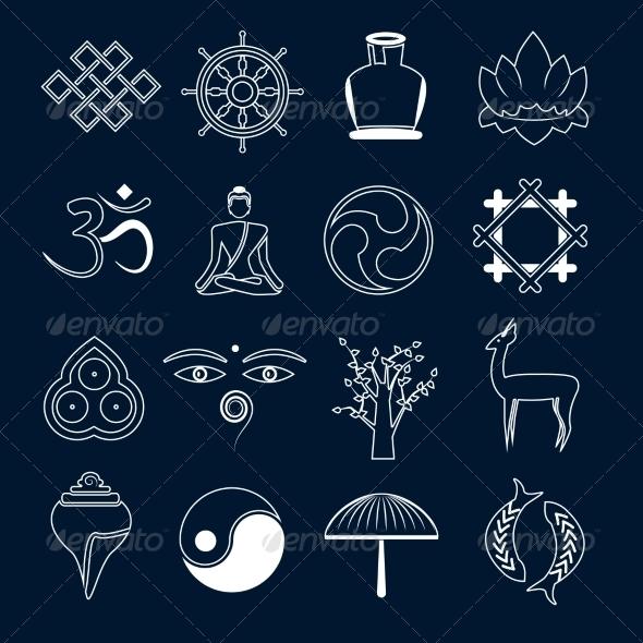 GraphicRiver Buddhism Icons Set Outline 8771325