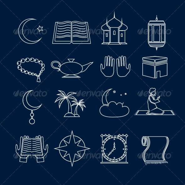 GraphicRiver Islam Icons Set Outline 8771329