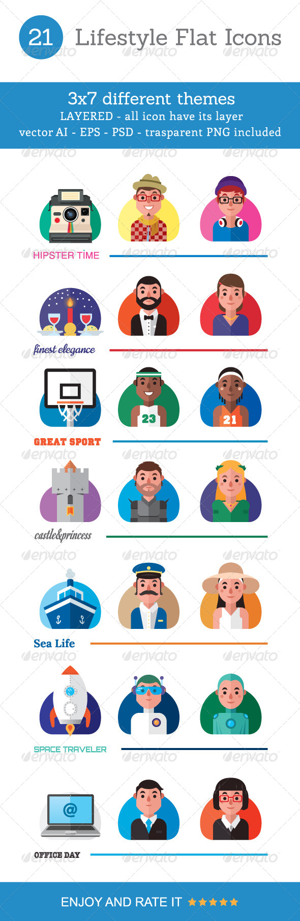 GraphicRiver 21 Lifestyle Flat Icons 8771406