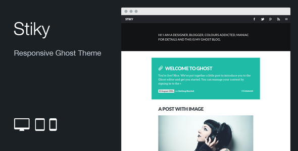 ThemeForest Stiky Responsive Clean Ghost Theme 8771520