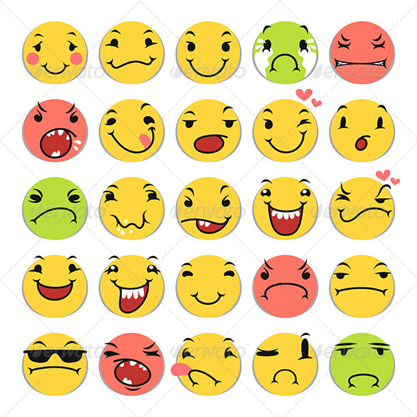 GraphicRiver Cartoon Smile Icons Set 8765203