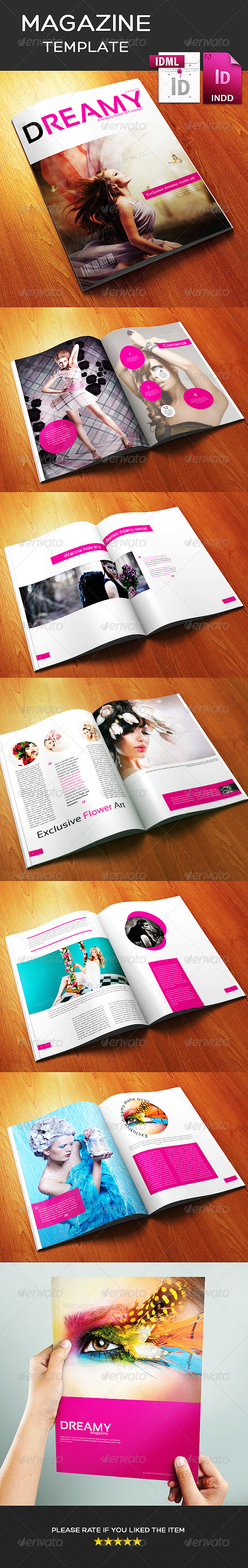 GraphicRiver 12 Page A3 Size Indesign Dreamy Fashion Magazine 8757079