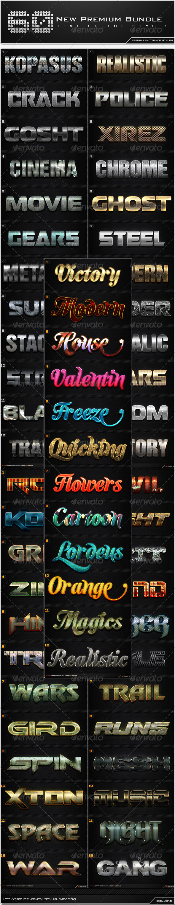 GraphicRiver 60 New Premium Text Effect Styles Bundle 8772183