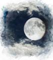 Watercolor Image Of  Full Moon - PhotoDune Item for Sale
