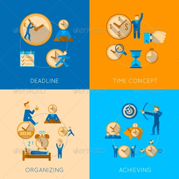 GraphicRiver Time Management Flat Composition Icons Set 8772908