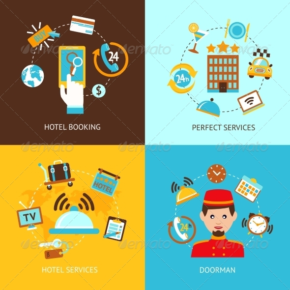 GraphicRiver Hotel Icons Flat Set 8772913
