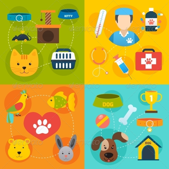 GraphicRiver Veterinary Icons Set Flat 8772926