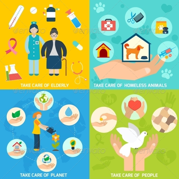 GraphicRiver Charity Icons Set Flat 8772928