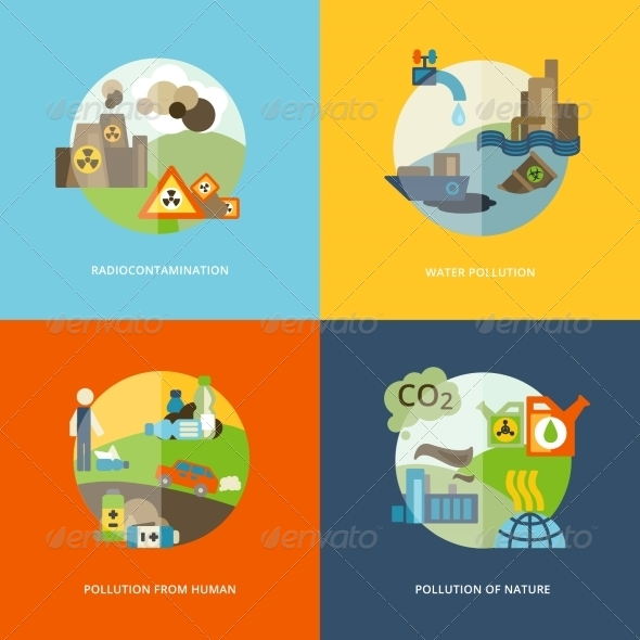 GraphicRiver Pollution Icons Flat 8772932