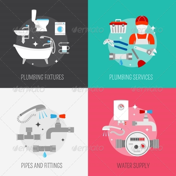GraphicRiver Plumber Icon Composition Set 8772933