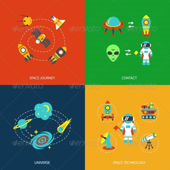 GraphicRiver Space Icons Infographics 8772934