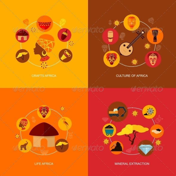 GraphicRiver Africa Icons Flat Composition 8772936
