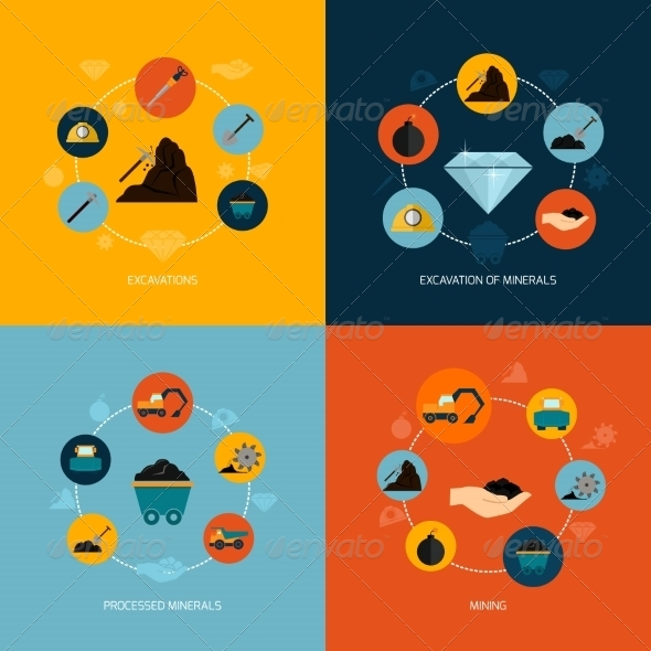 GraphicRiver Mining Icons Flat Composition 8772938